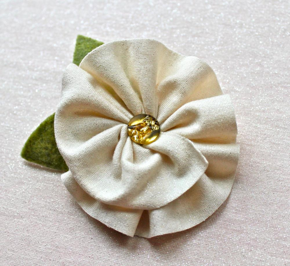 Ivory Jersey Flower Brooch And Hair Clip on Luulla